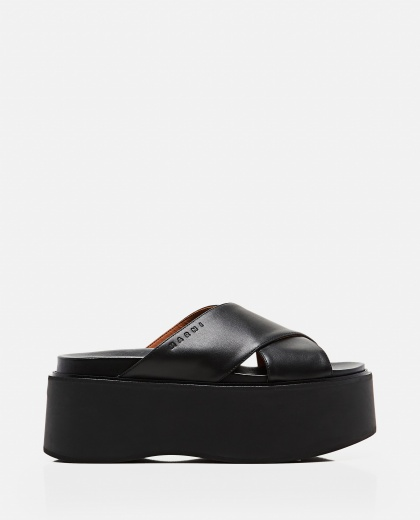 Leather platform sandals with criss-cross straps Women Marni 000289770042674 1