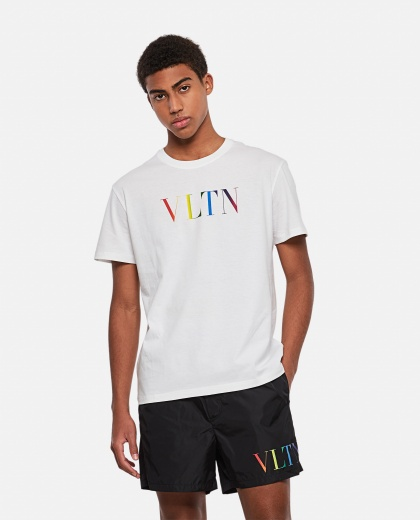 Cotton crew neck T-shirt with VLTN MULTICOLORS print Men Valentino 000294680043349 1