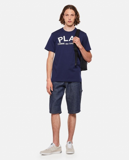 Cotton T-shirt with maxi logo lettering Men Comme des Garcons Play 000111480016903 2