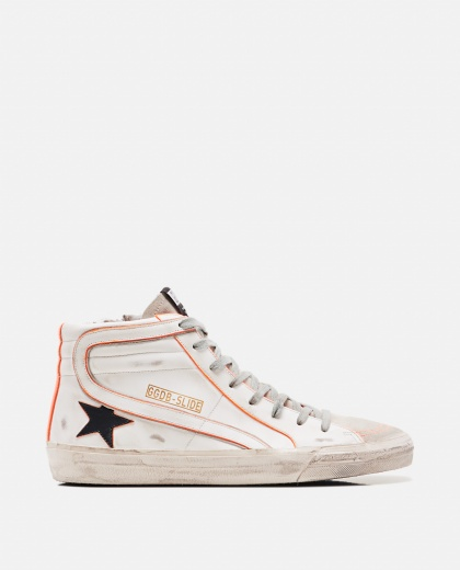 White leather and suede hi-top sneakers