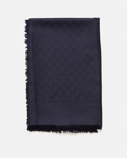 GG silk and jacquard wool shawl