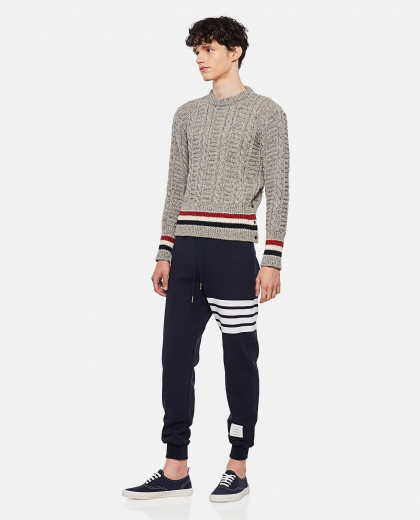 DONEGAL WOOL AND MOHAIR CABLE KNIT SWEATER Men Thom Browne 000325860047605 2