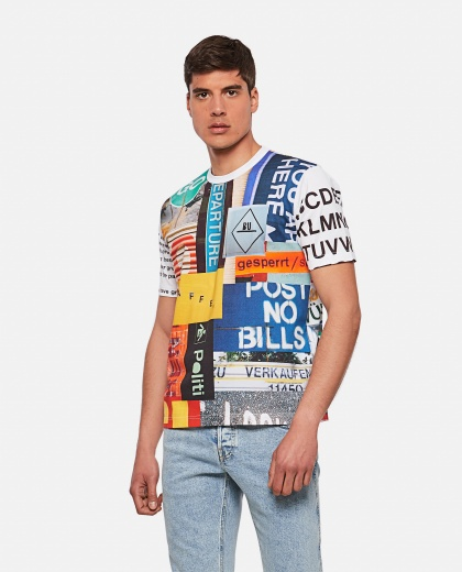 T-shirt in cotone con stampa collage Uomo Junya Watanabe 000300770044195 1