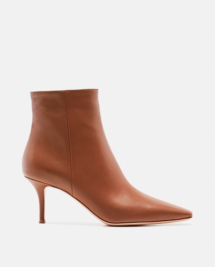 Pointed leather ankle boots
