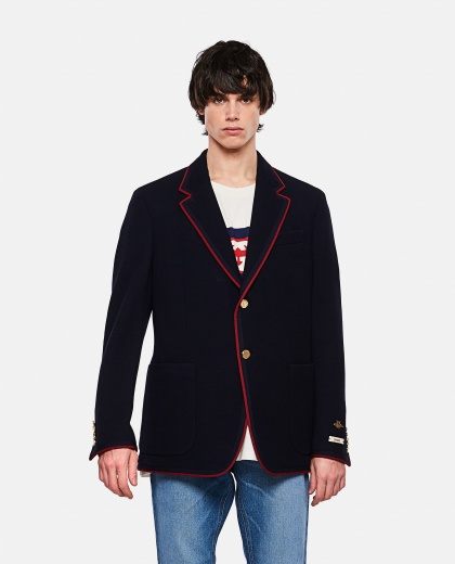 Cotton and wool jersey  Jacket with patch Men Gucci 000292940043150 1