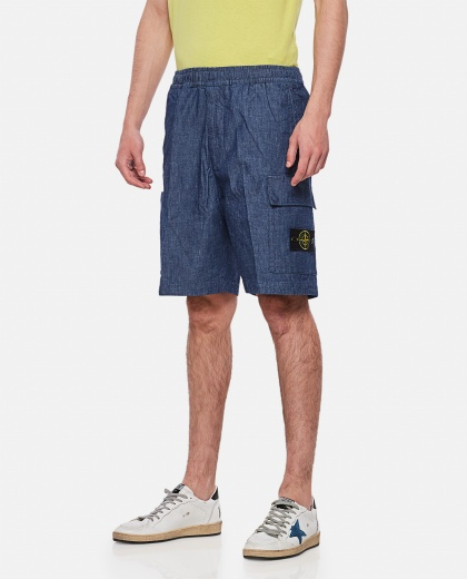 Wide Leg Denim Shorts Men Stone Island 000292520043064 1