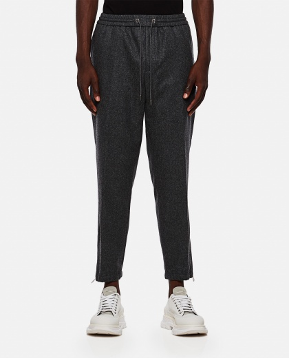 Wool trousers with logo patch