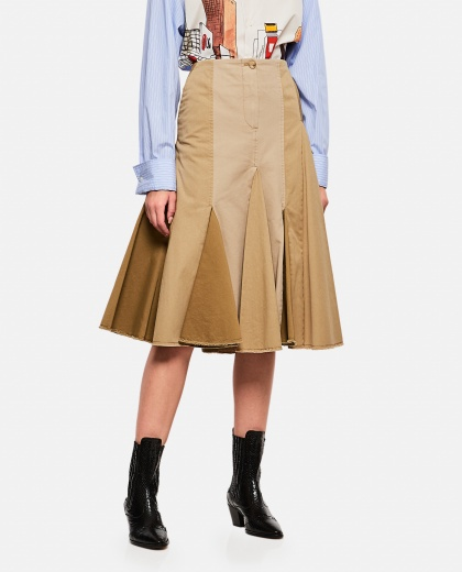 Pleated midi skirt in cotton fabric.