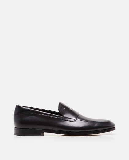 Slim black leather loafers