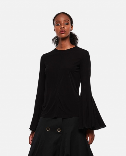 Blouse with draped sleeves
