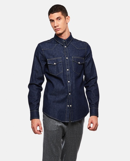 Cotton denim shirt  Men Alexander McQueen 000179640026748 1
