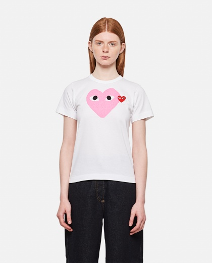 Cotton T-shirt with print and logo patch Women Comme des Garcons Play 000092230014300 1