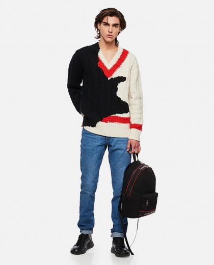 Sweater with Ink Bleeding Inlaid Pattern Men Alexander McQueen 000290970042838 2