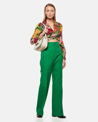 Flare trousers in wool twill Donna Gucci 000286990042323 2