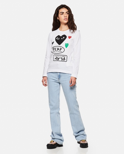 T-shirt with logo and hearts print Women Comme des Garcons Play 000267280039438 2