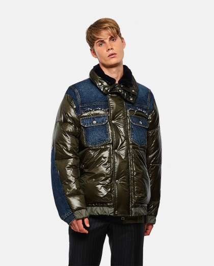 Down jacket with denim panels