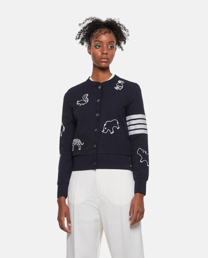 Cotton piqué cardigan with animal embroidery Women Thom Browne 000274880040474 1