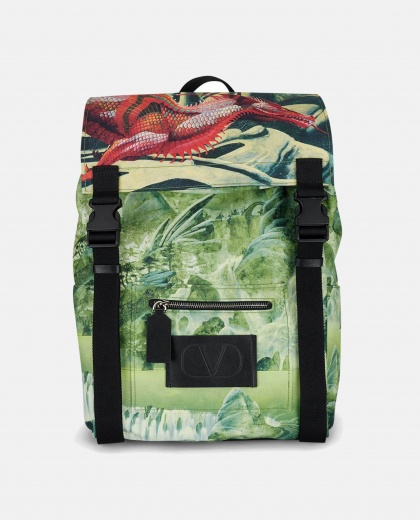 Red Dragon print backpack Men Valentino 000235510034793 1