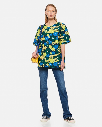 Rainbow Flower print cotton poplin shirt Donna Marni 000289610042650 2