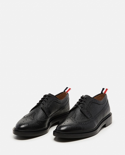 Textured leather  Lace-up derby with dovetail brogue motif Men Thom Browne 000080390012583 2