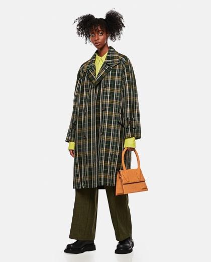 Double-breasted coat with tartan motif Women Plan C 000263290038925 2