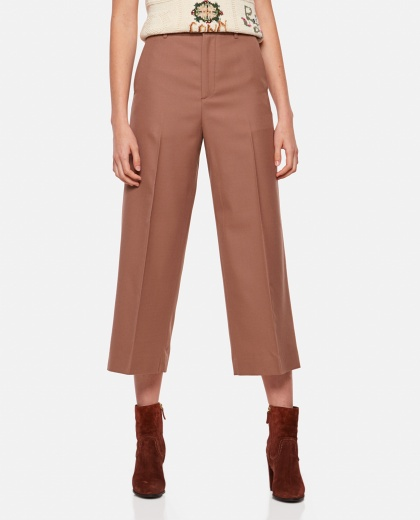 Crop trousers with folds