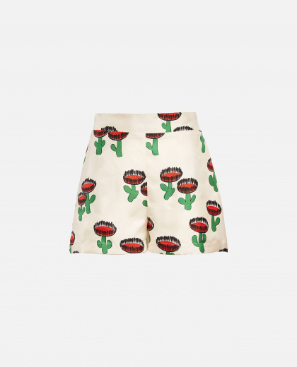 Shorts with silk print