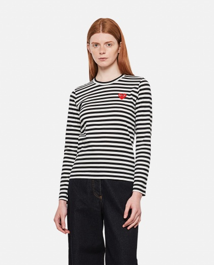 Long sleeve T-shirt with front heart patch Women Comme des Garcons Play 000051360008978 1