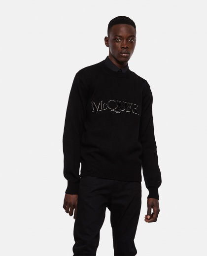 Embroidered crew neck sweater Men Alexander McQueen 000291100042857 1
