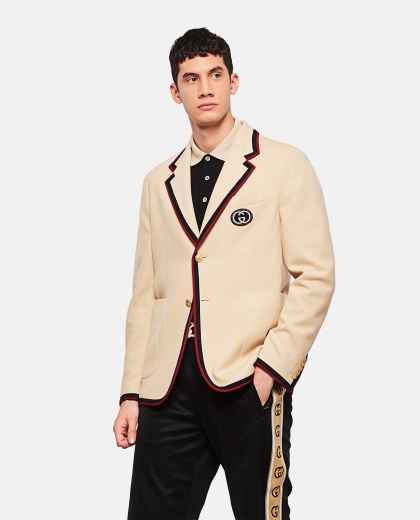 Blazer with contrasting detail Men Gucci 000218810032411 1