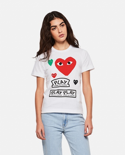 T-shirt with logo and hearts print Women Comme des Garcons Play 000267250039435 1