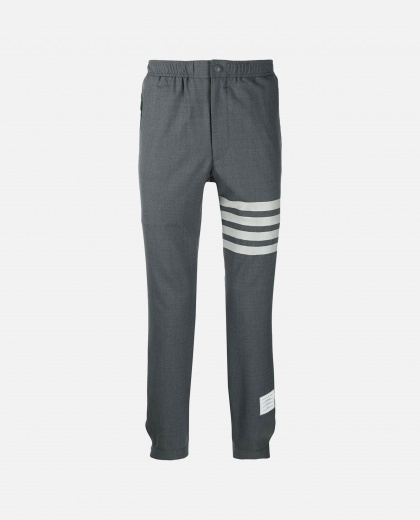 Gray trousers with elastic belt