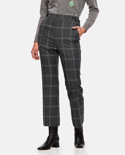 Check crop trousers