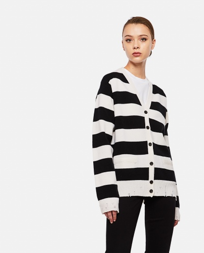 Long-sleeved striped cardigan