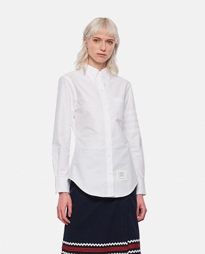 Buttoned shirt with logo patch Women Thom Browne 000295690043477 1