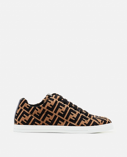 Low top in brown technical fabric