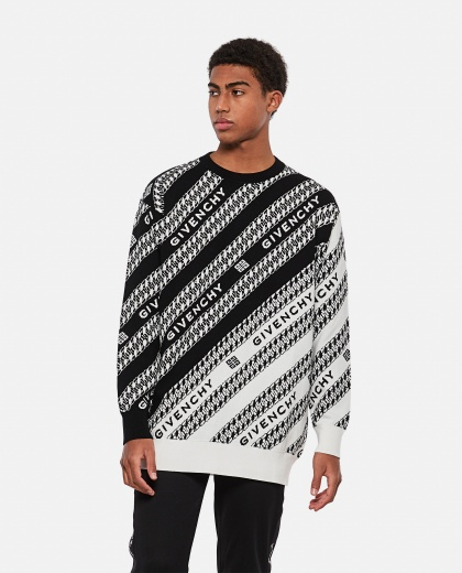 Organic cotton jacquard crewneck pullover Men Givenchy 000301960044343 1