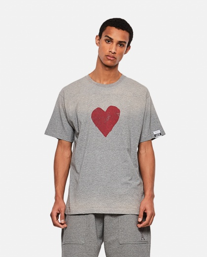 Cotton T-shirt with logo and heart print Men Golden Goose 000292140043020 1