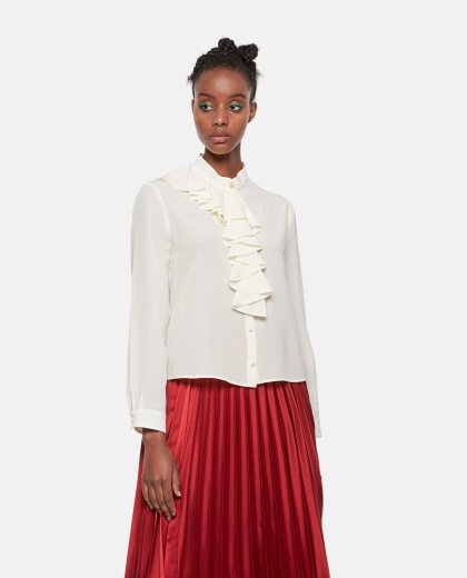 Crêpe de chine shirt with jabot Women Gucci 000273990040355 1