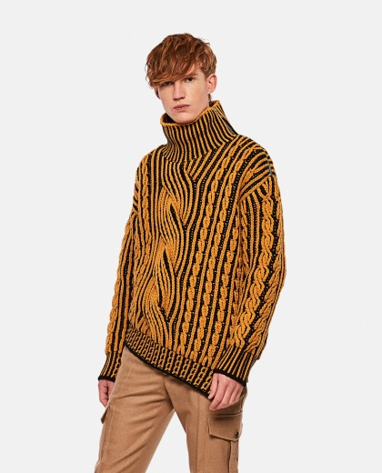 Bi-color turtleneck sweater Men Alexander McQueen 000268800039632 1