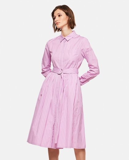 Striped chemisier with belt Women MSGM 000225210033326 1