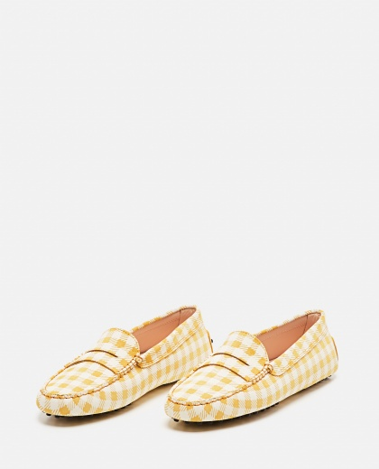 Leather Gommino loafer with checks print Women Tod's 000310690045556 2