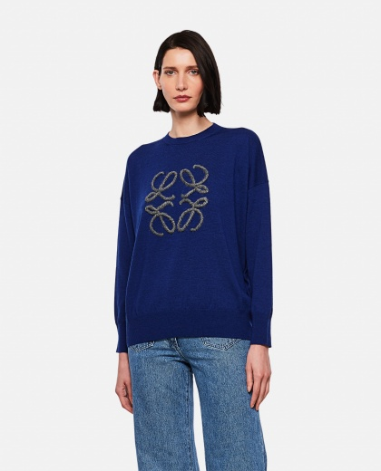 Maglione ricamato Anagram in lana Donna Loewe 000258480038193 1