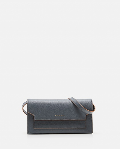 Leather wallet with shoulder strap Women Marni 000081700038001 1