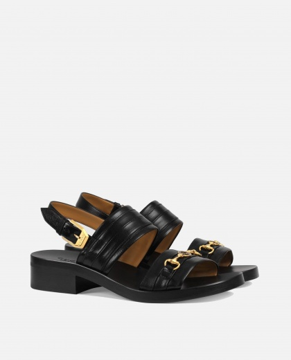 Sandals in black leather Men Gucci 000241590035765 2