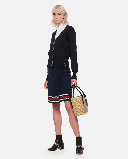 Buttoned shirt with logo patch Women Thom Browne 000295690043477 2