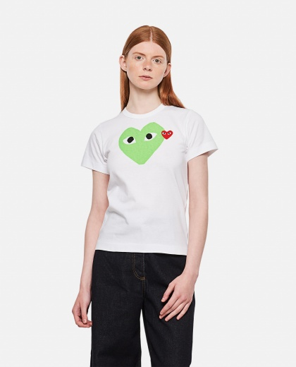Cotton T-shirt with heart print Women Comme des Garcons Play 000092230014273 1