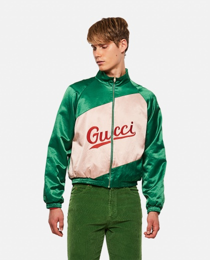 Viscose and cotton jacket with Gucci logo
