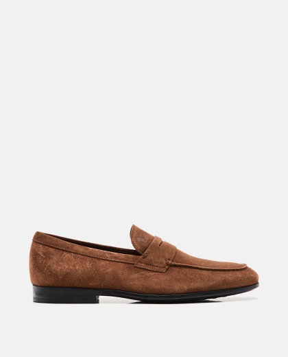 Loafers with dark brown suede strap