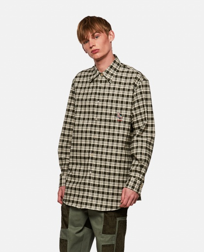 Checked cotton shirt with cat patch Men Gucci 000269700039741 1